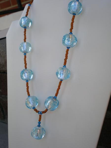 Blue swirl beaded necklace