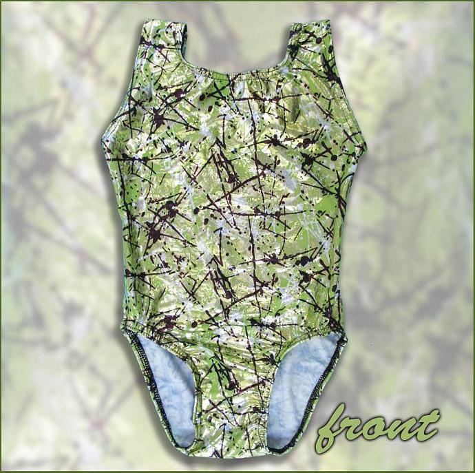 Girls Gymnastics Leotard Child size 6 8 10 12 green black white metallic