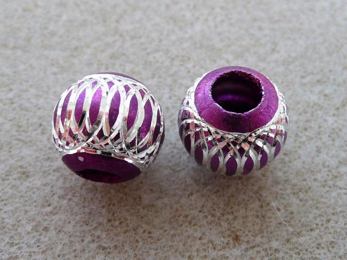 Pink Metal Beads