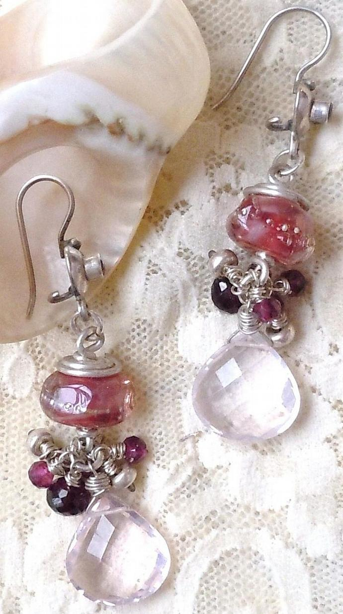 Sterling Silver Earrings, Lampwork Bead and AAA Grade Pink Amethyst