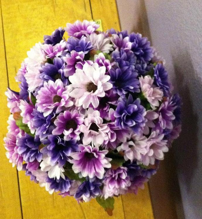 Mini Purple Daisies in a Galvanized  Pot