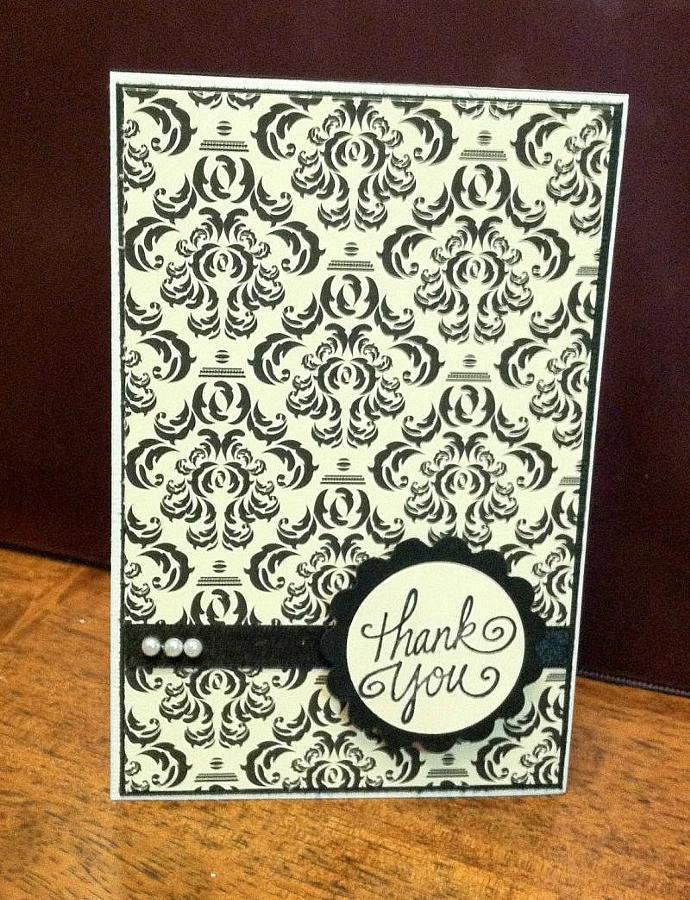 Elegant Damask Thank You Card