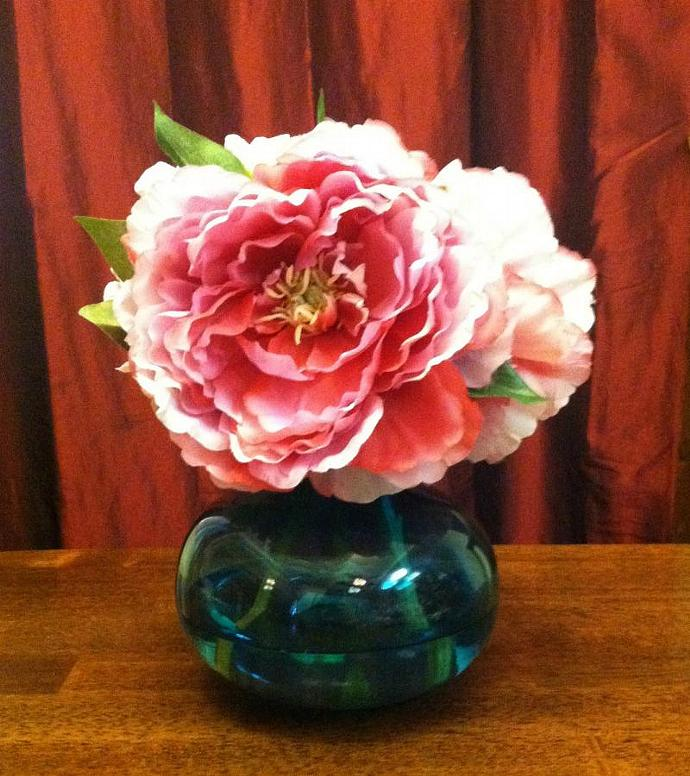 Peonies in Aqua Bliss Vase