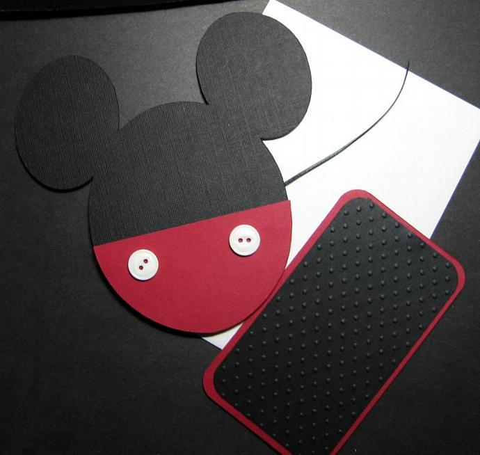 "5.250"" Mickey Pocket Invites with rectangular insert"