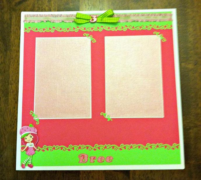 Strawberry Short Cake 12 x 12 premade scrapbook page