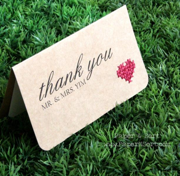 Handmade Cross Stitched Heart Thank You Cards - Custom Made - Personalized