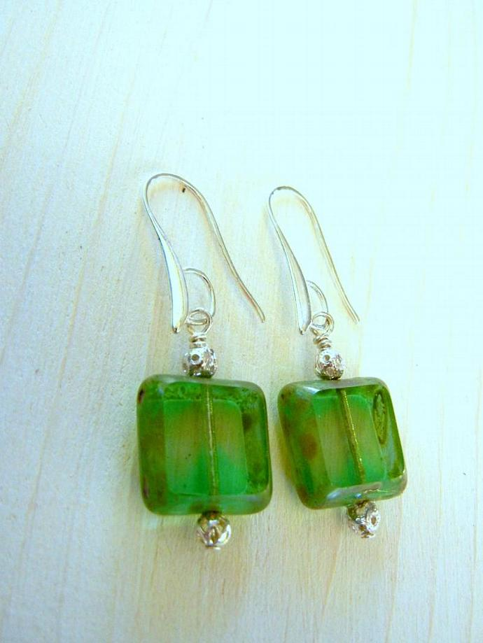 Square Czech Glass, Green Translucent Earrings with Picasso Finish - Bumbleberry