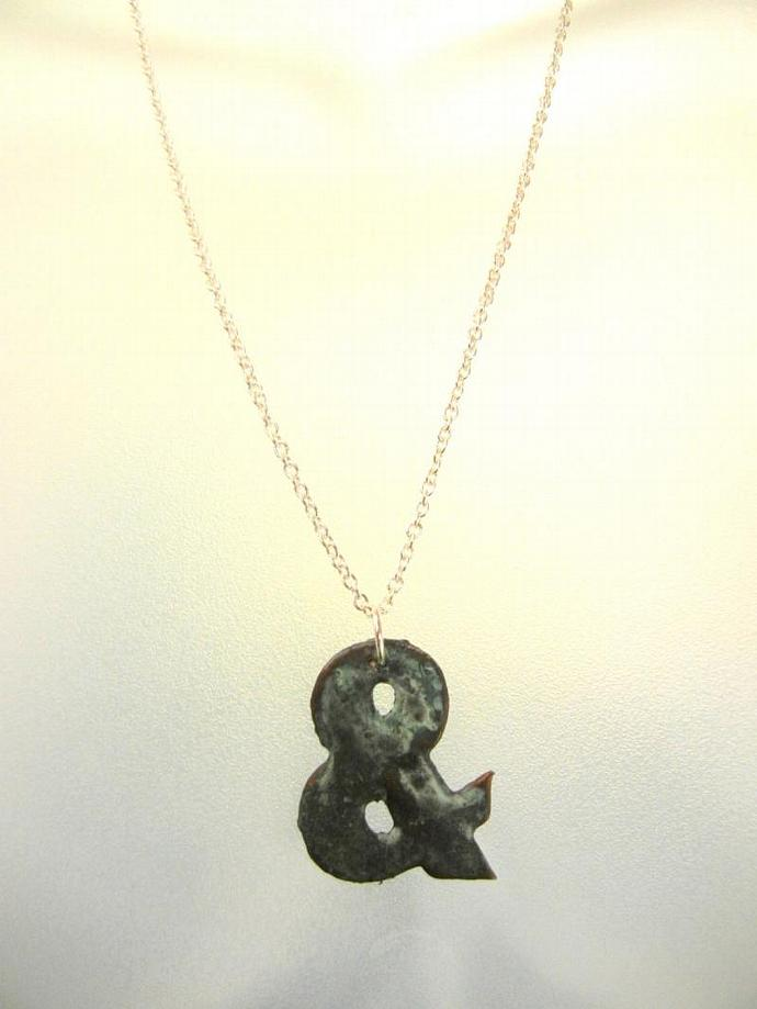 "Verdigris Ampersand ""And""  Recycled Paper Pendant Necklace on Sterling Silver"