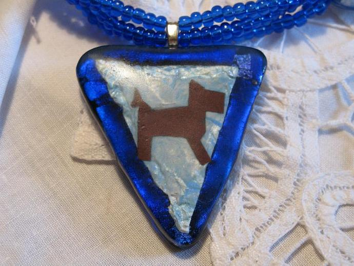 Blue Fused Glass Pendant  w/ copper Dog insert and Beaded Necklace.  Bumbleberry