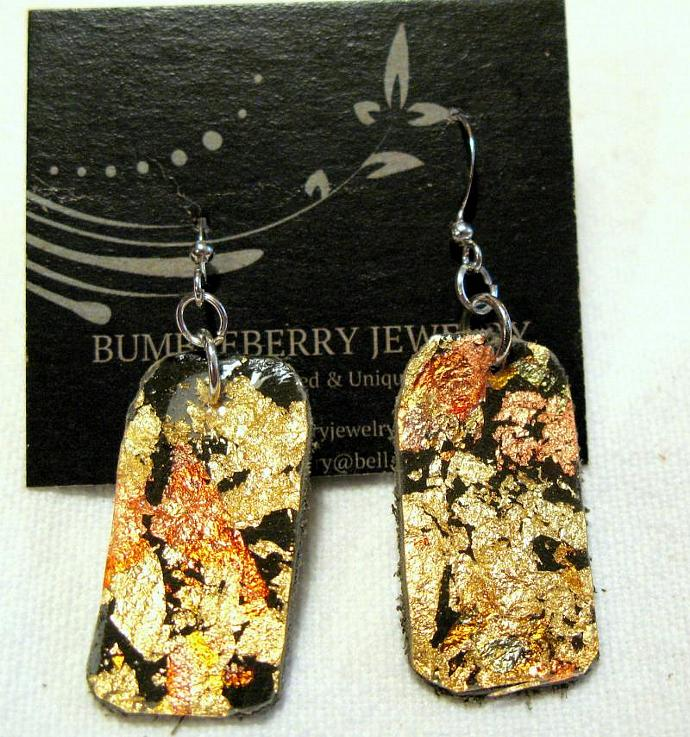 Painted Leather Drop Earrings - Short.  Bumbleberry Jewelry