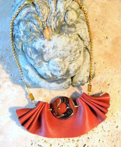 Ruffled Tan Bib Leather Necklace on Gold Chain by Bumbleberry Jewelry