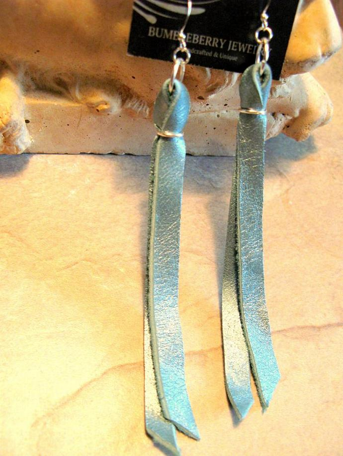 Aqua Leather Ribbon Earrings, Turquoise, Teal Metallic finish by Bumbleberry