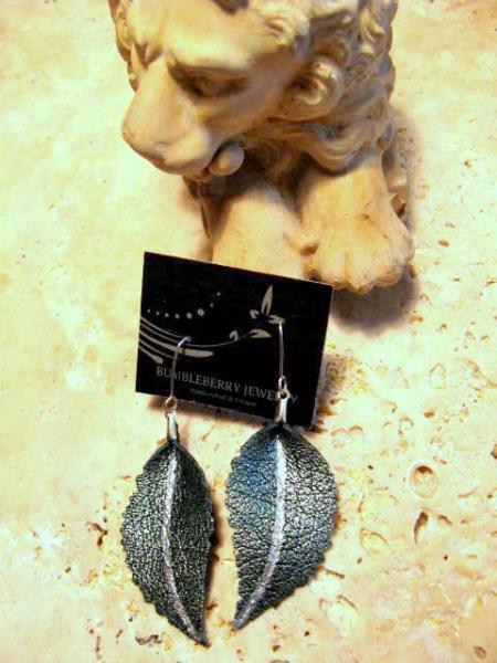 Metallic Green Leather Leaf Earrings, Sterling Silver Earwires,  Bumbleberry
