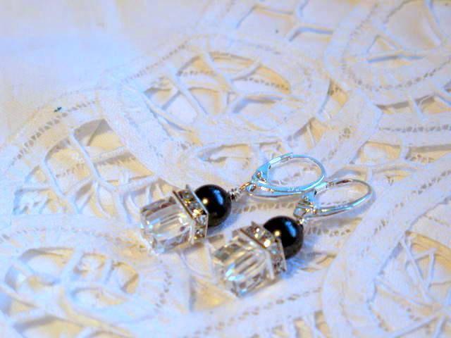 8mm Swarovski Crystal Cube Earrings, Vintage Clear Crystals & Black Pearls,