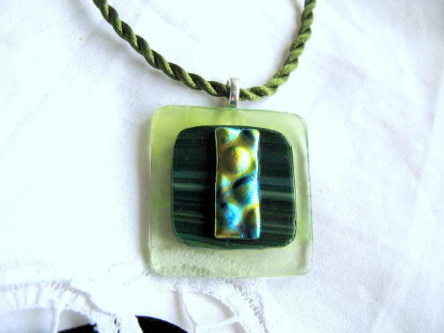 Fused Glass Green Dichroic and Tranlucent Pendant Necklace by Bumbleberry