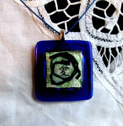 Fused Glass Pendant, Kanji for LOVE, Green on Indigo 3D Pendant Necklace by