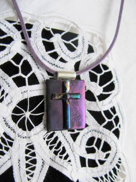 Fused Glass Pendant Necklace. Purple Cross.   Bumbleberry Jewelry