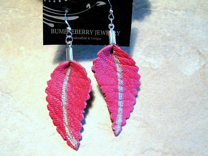 Pink Leather Leaf Earrings.  Bumbleberry Jewelry