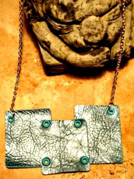 Metallic Turquoise, Aqua, Bib, Statement Leather Necklace.  Bumbleberry Jewelry
