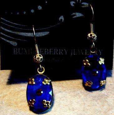 Vintage Blue Glass Bead Earrings Brass Earwires.  Bumbleberry Jewelry