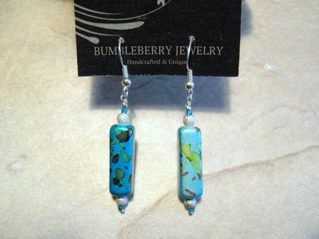 Mottled Turquois Rectangle Earrings.  Bumbleberry Jewelry