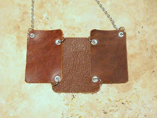 Brown Statement Leather Bib Necklace  Bumbleberry Jewelry