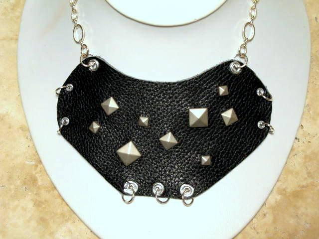 Black Leather Studded Bib Necklace, Punk, statement