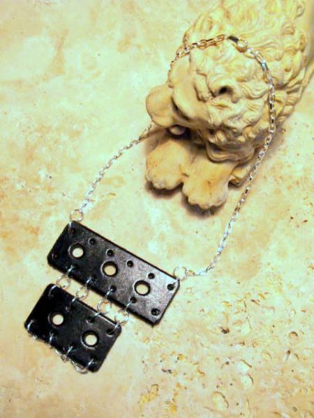 Black Leather Bib Necklace, Punk, Statement.  Bumbleberry Jewelry
