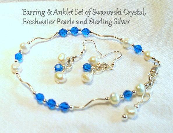 Blue Swarovski Crystal Anklet & Earring Set - Sterling Silver, Pearls.  By