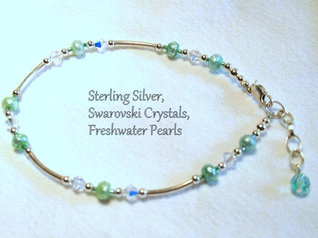 Swarovski Crystal Green Pearl Anklet Sterling Silver.  Bumbleberry Jewelry