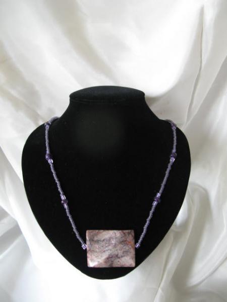 Purple Crazy Lace Agate, Amethyst Necklace