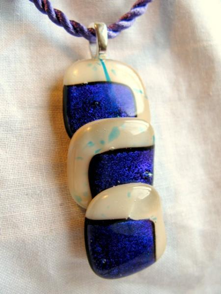 Fused Glass Pendant  Indigo Purple Blue Three Stepped Dichroic Necklace.