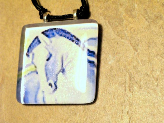 Blue Rider, Blue Horse Large Glass Tile Pendant Necklace, Bumbleberry Jewelry