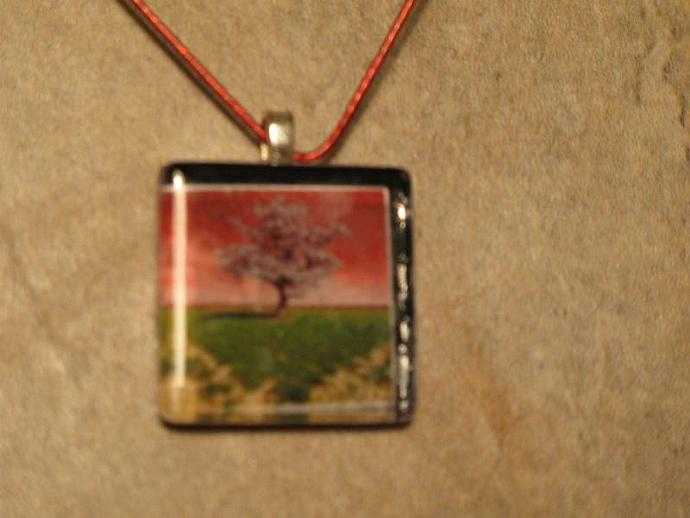 Glass Tile Pendant of Tree - Pink, Green.  Bumbleberry Jewelry