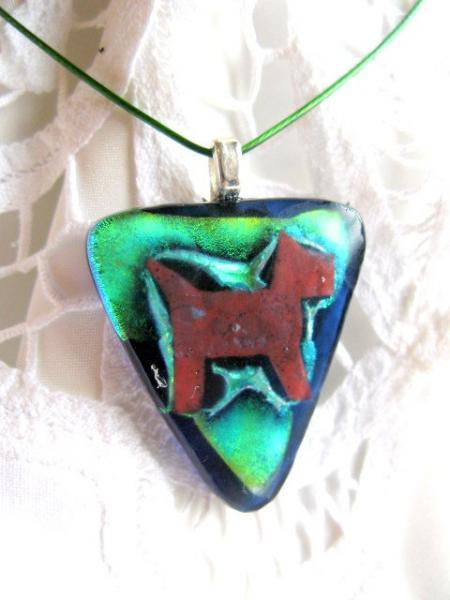 Fused Glass Pendant Necklace, Copper Dog, Green Dichroic Triangle by Bumbleberry