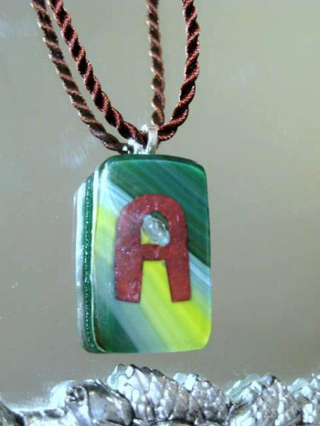 """Green Fused Glass Pendant Letter """"A"""" on Silk Cord.  Bumbleberry Jewelry"""