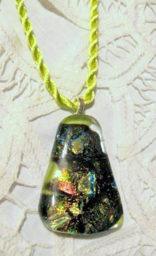 Fused Glass Green Dichroic Pendant Necklace, Triangle on Silk Cord by