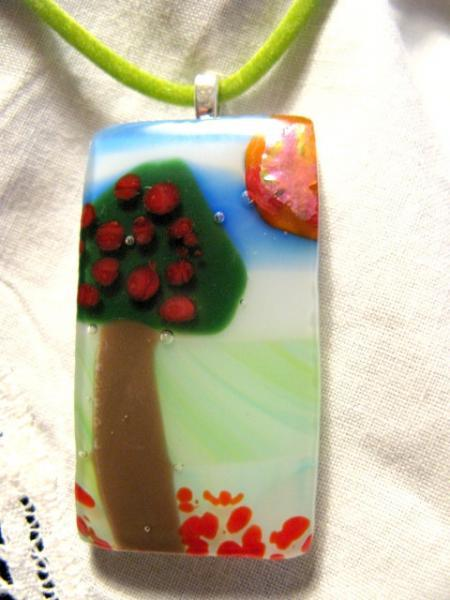 Fused Glass Apple Tree Pendant Necklace, Green, Blue, Brown.   Bumbleberry