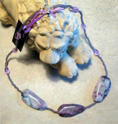 Purple Crazy Lace Agate Necklace,  Bumbleberry Jewelry