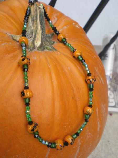 Pumpkins on a vine necklace