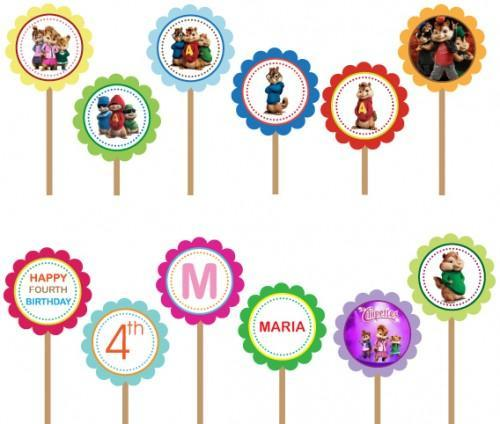 Alvin and Chipmunks- Printable DIY Custom Party Circle Cupcake Toppers