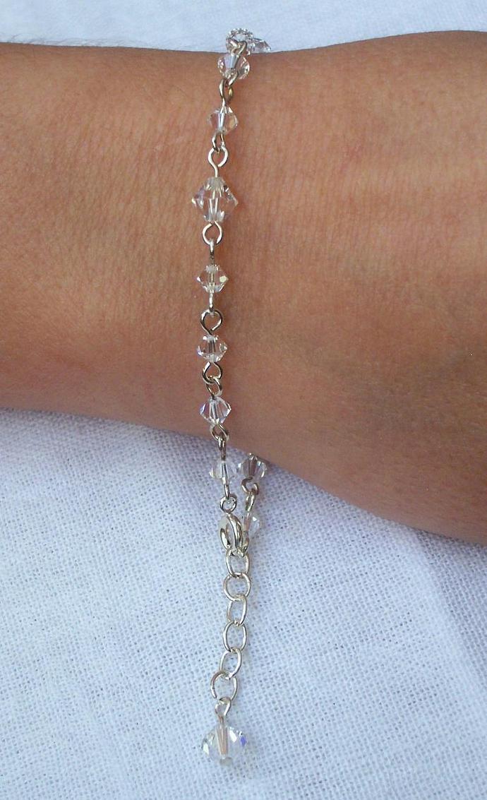 Diamond (Clear) Swarovski Crystal - Silver Plated Bracelet