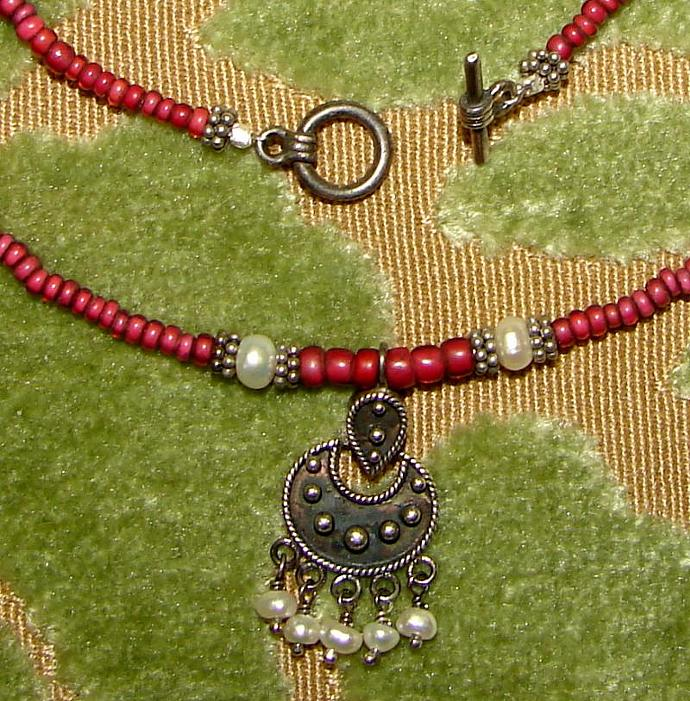 Balinese Crescent Moon Pendant Necklace Luna Pearl Sterling Antique Red