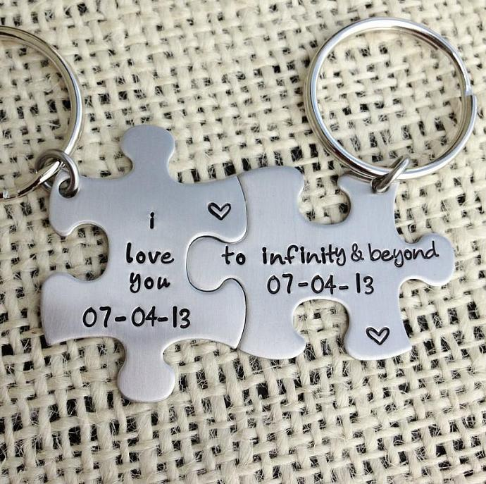 To infinity and beyond Hand stamped puzzle pieces his and her keychain wedding