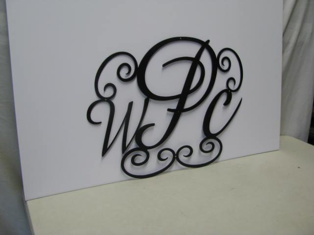 Monogrammed Door Decor Metal Art Silhouette