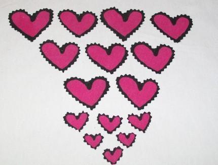 HAND CUT PINK HEARTS Mixed