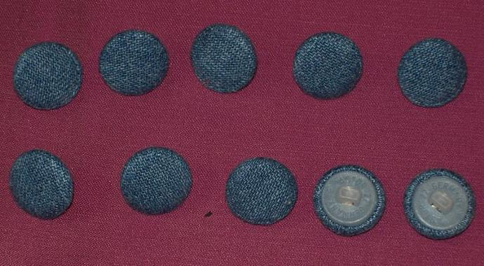 10 Sew on Buttons Blue Stonewashed Denim Size 18 11mm