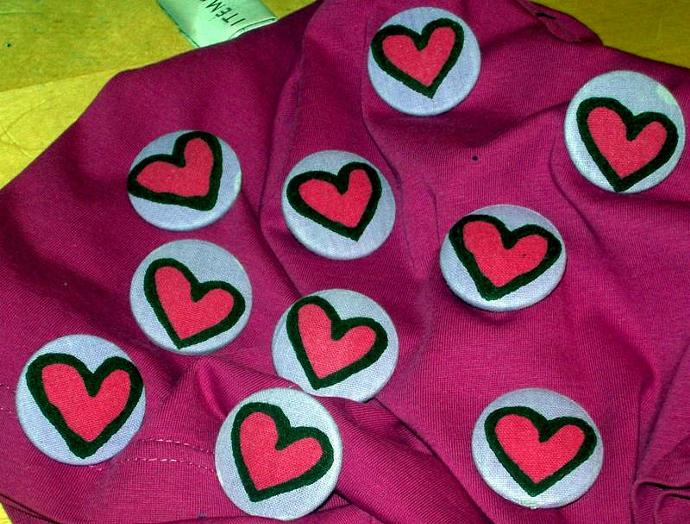 Lilac and Pink Hearts Sew On Buttons