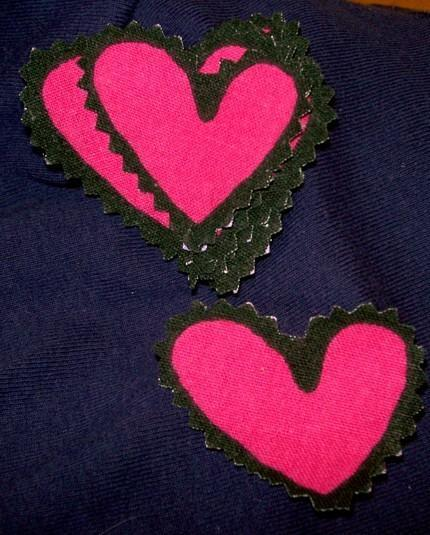 Fabric Embellishments 9X PINK HEARTS Cotton HAND CUT