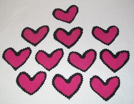 HANDCUT PINK HEARTS Embelishements